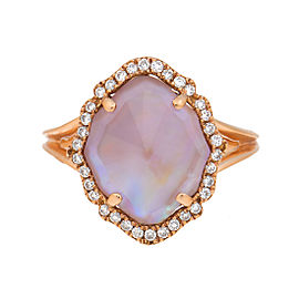 18k Pg Small Marquis Smooth Top Pink Mop, Crystal and Diamond Around Ring