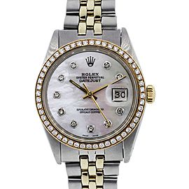 ROLEX DATEJUST 16013 TWO TONE MOTHER OF PEARL DIAL DIAMOND BEZEL WATCH