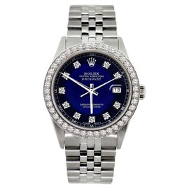 Rolex Datejust Stainless Steel Diamond Mens Watch