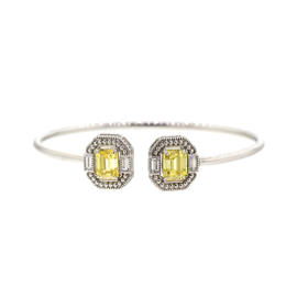 Avery - Baguette Wrap Emerald Cut Open Top Spring Wire Cuff With Rock Crystall Quartz & Canary Crystal