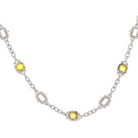 Estate Asscher Stones by the Yard Chain Necklace