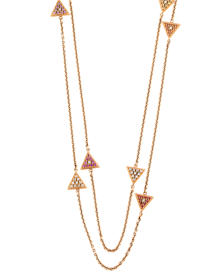 "Image of ""18K Rose Gold Multi Colored Sapphires SaharA Chain Necklace"""