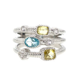 Three Band Ring Oval and Elongated Cushion Stone