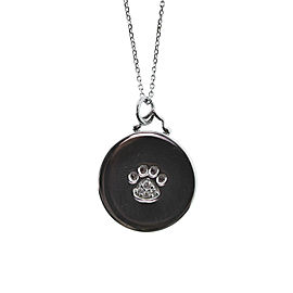 Monica Rich Kosann Sterling Silver Paw Print Disc With White Saphires on Foot Pad 30