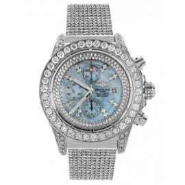 Breitling A13370 Super Avenger Stainless Steel & Diamond Mens Watch