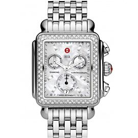Michele Classic Deco MWW06A000028 Diamond & Stainless Steel Mother Of Pearl Dial Womens Watch