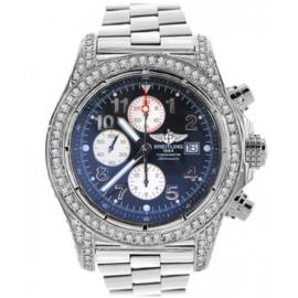 Breitling A13370 Super Avenger Chronograph Stainless Steel & Diamond Mens Watch