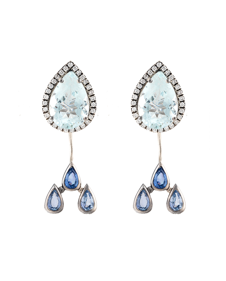 "Image of ""18K White Gold Aquamarine Watershed Earrings"""