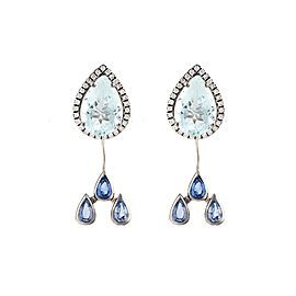 18K White Gold Aquamarine Watershed Earrings