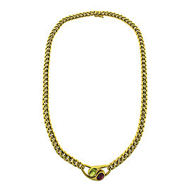 18k Yellow Gold Bvlgari Color Stone Necklace