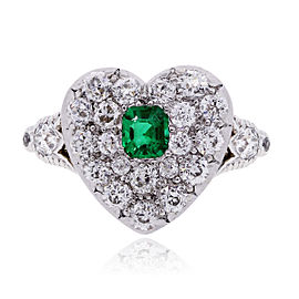 Tiffany & Co. Platinum 18K Yellow Gold Diamond and Emerald Heart Ring Size 5