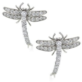 Tiffany Platinum & Diamond Dragonfly Earrings