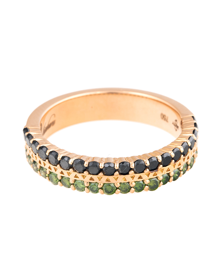 "Image of ""18K Rose Gold Black/Green Diamonds Unity Pure Ring"""