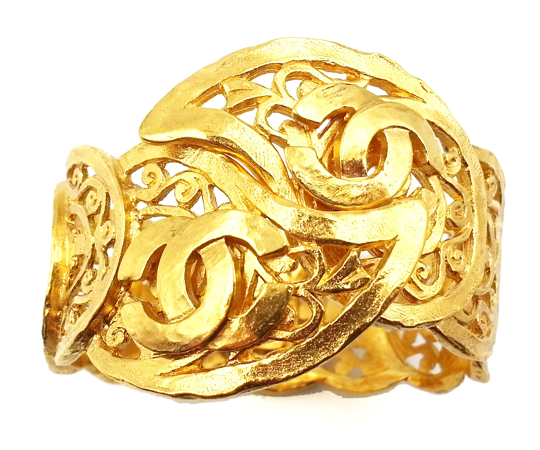 "Image of ""Chanel Gold Plated Metal Paisley Cuff Bracelet"""
