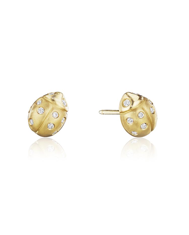 """Image of """"18K Gold Medium Wonderland Ladybug Diamond Stud Earrings"""""""