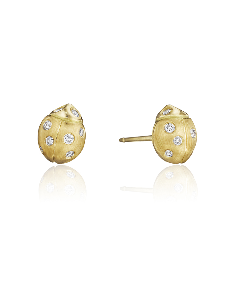 "Image of ""18K Gold Small Wonderland Ladybug Diamond Stud Earrings"""
