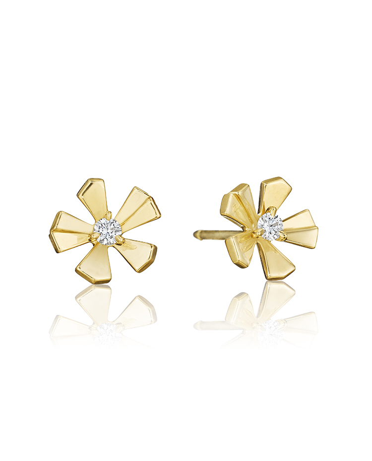 "Image of ""18K Gold Wonderland Small Pow Orchid Stud Earrings"""