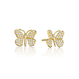 18K Gold Wonderland Butterfly Diamond Stud Earrings