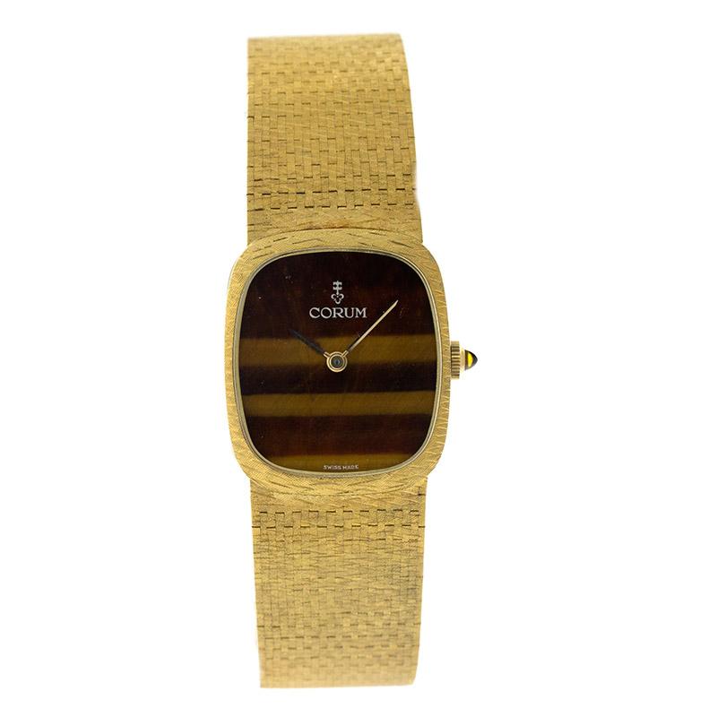 "Image of ""Corum Cor1 18K Yellow Gold Tigers Eye Dial Vintage Mens Watch"""