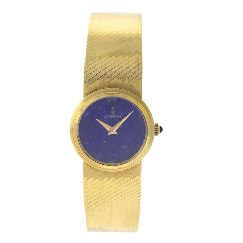 "Image of ""Corum Cor7 18K Yellow Gold Lapis Lazuli Dial Integrated Bracelet"""