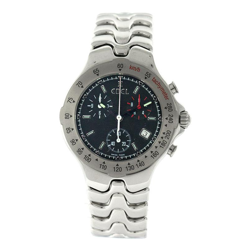 "Image of ""Ebel Ebl6 Sport-Wave Chronograph Stainless Steel Quartz Mens Watch"""