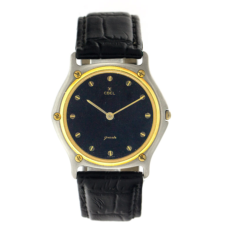 "Image of ""Ebel Wave Ebl9 Two Tone 18K Yellow Gold & Stainless Steel Mens Watch"""