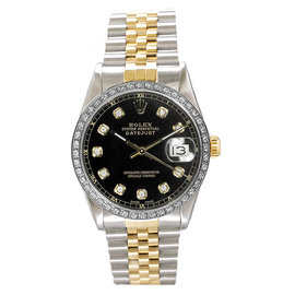 Rolex Datejust Two Tone Custom Diamond Bezel & Black Diamond Dial Mens Watch