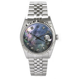 Rolex Datejust Stainless Steel Fluted Custom Dark Mother of Pearl Diamond Dial Mens Watch