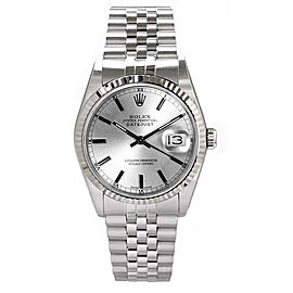 Rolex Datejust Stainless Steel Fluted Silver Index Dial Mens Watch
