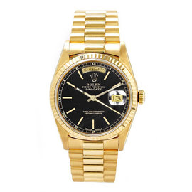 Rolex Day-Date 18K Yellow Gold & Black Index Dial 36mm Mens Watch