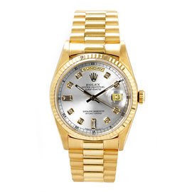 Rolex Day-Date 18K Yellow Gold & Silver Diamond Dial 36mm Mens Watch