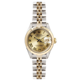 Rolex Datejust Two Tone Fluted Champagne Roman Dial Womens Watch