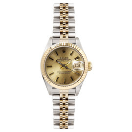 Rolex Datejust Two Tone Fluted Champagne Index Dial Womens Watch