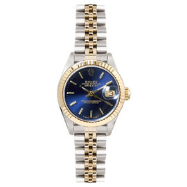 Rolex Datejust Two Tone Fluted Blue Index Dial Womens Watch