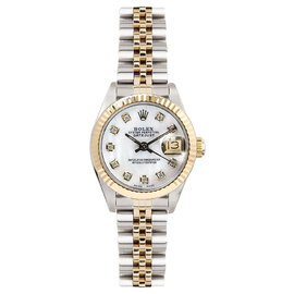 Rolex Datejust Two Tone Fluted Custom Mother of Pearl Diamond Dial Womens Watch