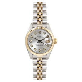 Rolex Datejust Two Tone Fluted Custom Silver Diamond Dial Womens Watch