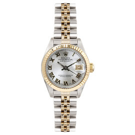 Rolex Datejust Two Tone Fluted Silver Roman Dial Womens Watch