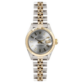 Rolex Datejust Two Tone Fluted Silver Index Dial Womens Watch