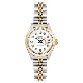 Rolex Datejust Two Tone Fluted Custom White Diamond Dial Womens Watch