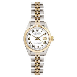 Rolex Datejust Two Tone Fluted White Roman Dial Womens Watch