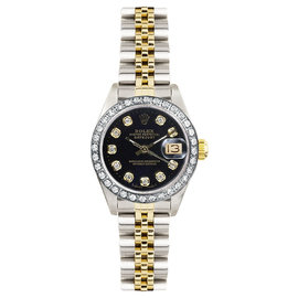 Rolex Datejust Two Tone Custom Diamond Bezel & Black Diamond Dial Women's Watch