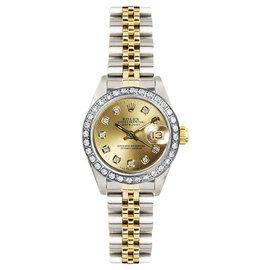 Rolex Datejust Two Tone Custom Diamond Bezel & Champagne Diamond Dial Women's Watch