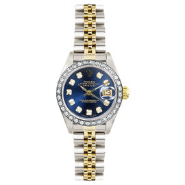 Rolex Datejust Two Tone Custom Diamond Bezel & Blue Diamond Dial Women's Watch
