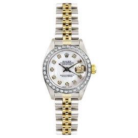 Rolex Datejust Two Tone Custom Diamond Bezel & Mother of Pearl Diamond Dial Women's Watch