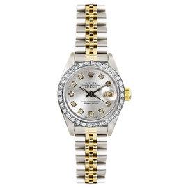 Rolex Datejust Two Tone Custom Diamond Bezel & Silver Diamond Dial Women's Watch