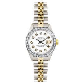 Rolex Datejust Two Tone Custom Diamond Bezel & White Diamond Dial Women's Watch