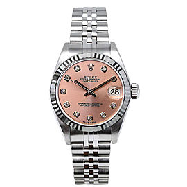 Rolex Datejust Stainless Steel Fluted Custom Pink Diamond Dial Womens Watch