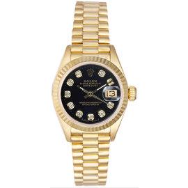 Rolex President 18K Yellow Gold Fluted Custom Black Diamond Dial Women's Watch