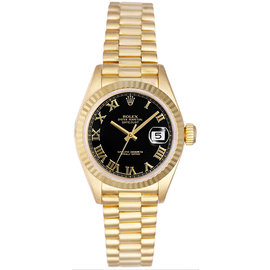 Rolex President 18K Yellow Gold Fluted Black Roman Dial Women's Watch