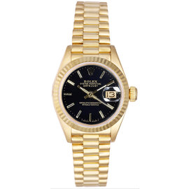 Rolex President 18K Yellow Gold Fluted Black Index Dial Women's Watch